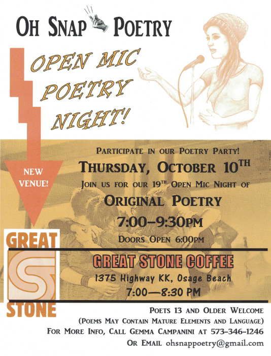 oh snap poetry october 11, 7pm at Great Stone Coffee